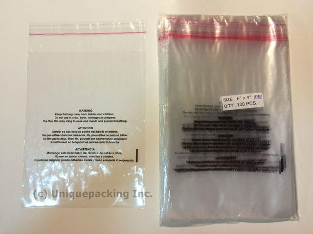 500 Pcs 9x12 (PE) Clear Poly Bags 1.6mil Self-seal with Suffocation Warning