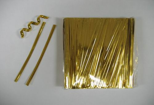 "1000 4"" (10cm) Gold Metallic Twist Ties For Cello Bag"