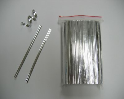"5000 4"" (10cm) Silver Metallic Twist Ties For Cello Bag"